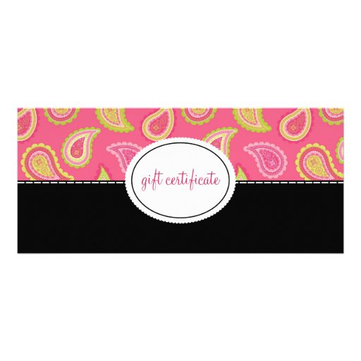 Modern Paisley Boutique Style Gift Certificates Rack Card Design