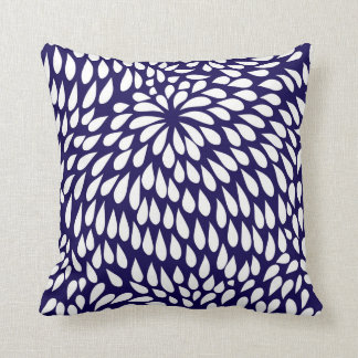 Modern Paisley Flower in Cobalt Blue and White Cushion