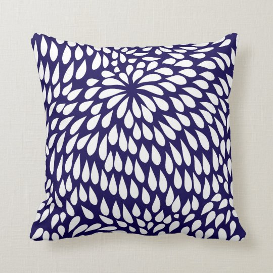 Modern Paisley Flower in Cobalt Blue and White Throw Pillow Zazzle