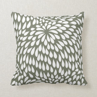Modern Paisley Flower in Olive Green and White Cushion