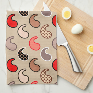Modern Paisley pattern, Beige, Red, Gray and Coral Tea Towel