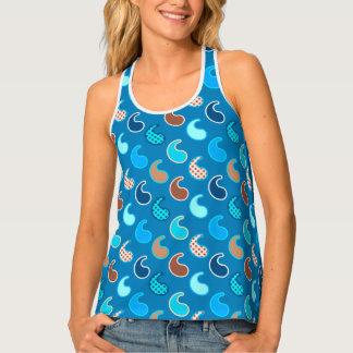 Modern Paisley pattern, Cerulean Blue, Tan & Aqua Tank Top