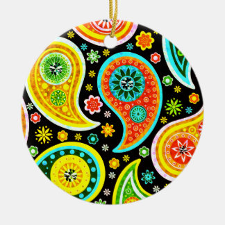 Modern Paisley Pattern - Diamond Studs Round Ceramic Decoration