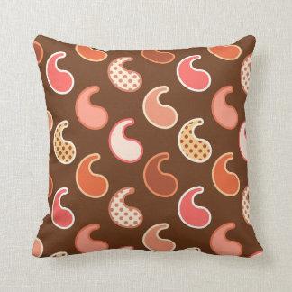Modern Paisley pattern, Earth Tones, Cocoa Brown Cushion