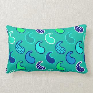 Modern Paisley pattern, Turquoise, Blue and Aqua Lumbar Pillow