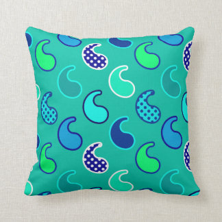 Modern Paisley pattern, Turquoise, Blue and Aqua Throw Pillow