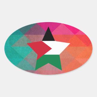 Modern Palestine Flag Oval Sticker