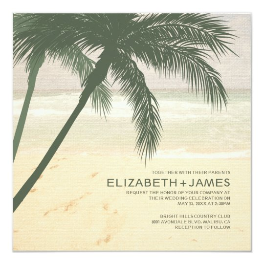 Modern Palm Tree Burlap Wedding Invitations