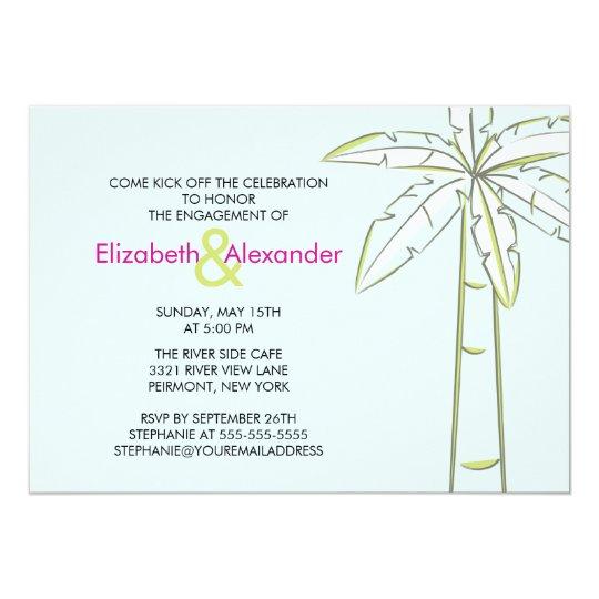 Modern Palm Tree Engagement Invitations