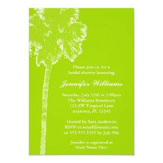 Modern Palm Tree Lime Green Bridal Shower 13 Cm X 18 Cm Invitation Card