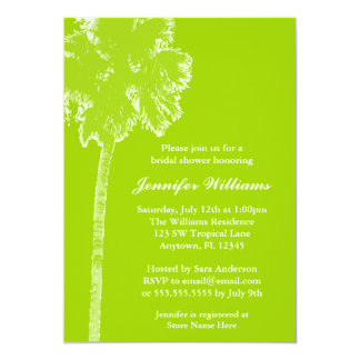 Modern Palm Tree Lime Green Bridal Shower Card