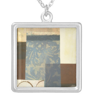 Modern Panel Painting Silver Plated Necklace