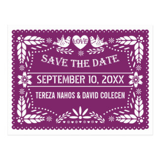 Modern Papel picado purple wedding Save the Date Postcard