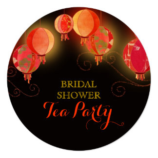 "Modern Paper Lanterns Bridal Shower Tea Party Card 5.25"" Square Invitation Card"