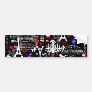 Modern Paris French black collage Bumper Sticker