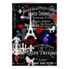Modern Paris French black collage Card