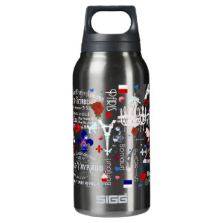 Modern Paris French black collage Insulated Water Bottle