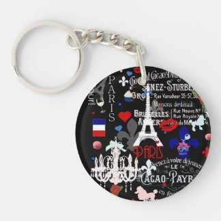 Modern Paris French black collage Acrylic Key Chains