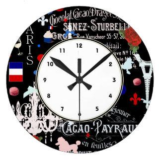 Modern Paris French black collage Large Clock