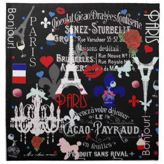 Modern Paris French black collage Napkin