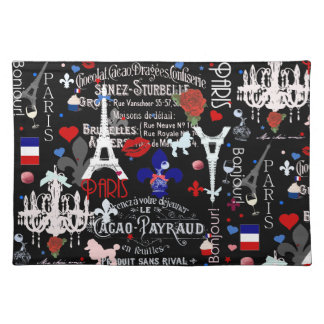 Modern Paris French black collage Placemat