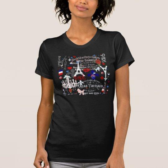 Modern Paris French black collage T-Shirt