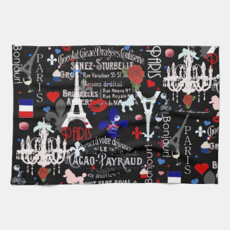 Modern Paris French black collage Tea Towel