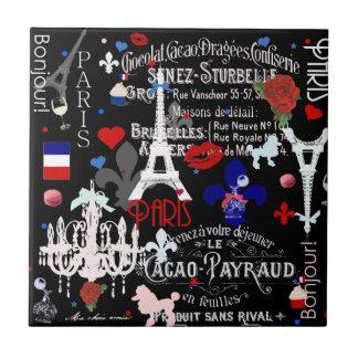Modern Paris French black collage Tile