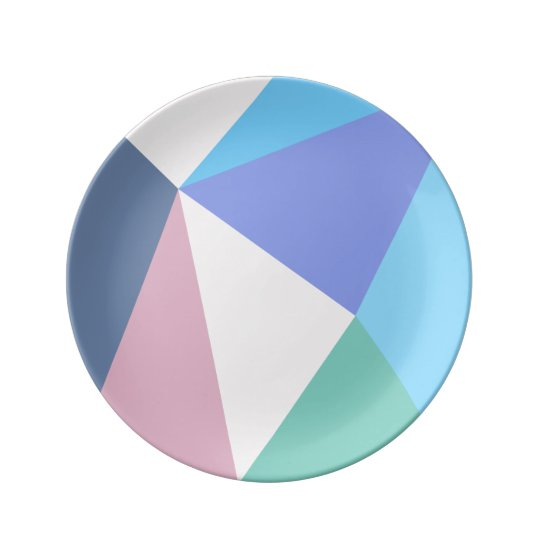 Modern pastel colour triangle Porcelain Plate