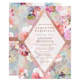 Modern pastel floral watercolor rose gold wedding card