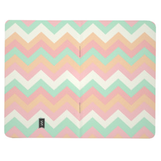 Modern Pastel Mint Green Coral Pink Stripe Chevron Journal