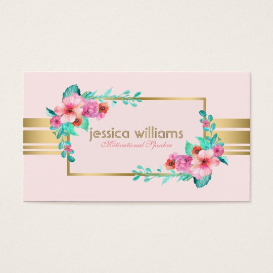 Modern, Pastel Pink, Flowers & Gold Accent Business