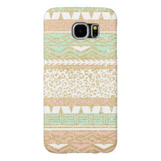 Modern pastel pink mint green gold aztec pattern samsung galaxy s6 cases