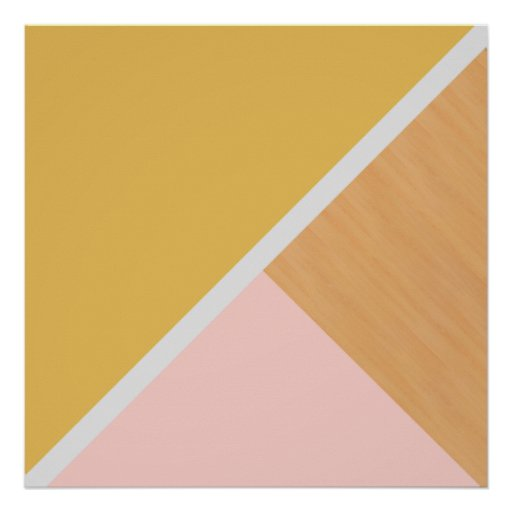 Modern pastel pink mustard wood colour block poster