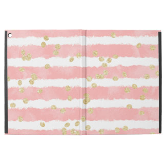 "Modern pastel pink watercolor stripe gold confetti iPad pro 12.9"" case"