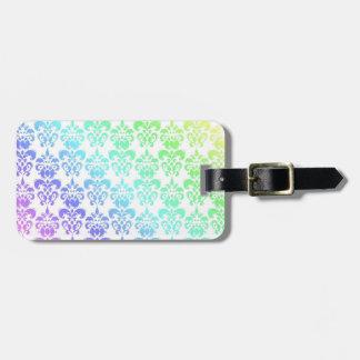 Modern pastel rainbow damask luggage tag