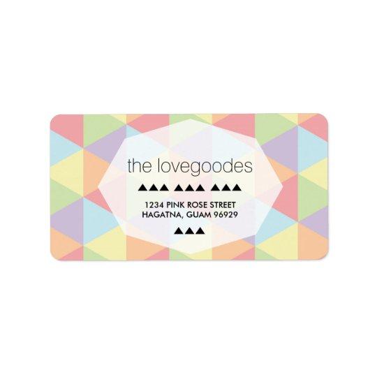 Modern Pastel Rainbow Geometric Wedding Address Address Label