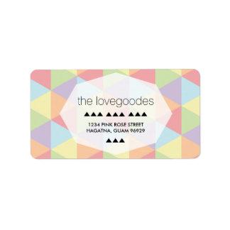 Modern Pastel Rainbow Geometric Wedding Address Label