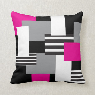 Modern Patchwork Pink Black Gray White Pillow