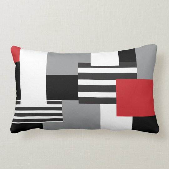 Modern Patchwork Red Black Grey White Throw Pillow