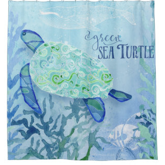 Charming Modern Pattern Beach Sea Turtle Whale Vintage Art Shower Curtain