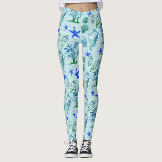 Modern Pattern Beach Seashell Shell Coral Starfish Leggings