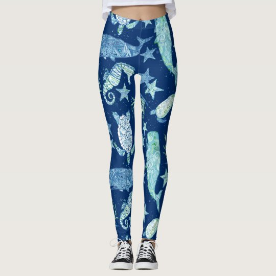 Modern Pattern Beach Whale Turtle Seahorse Star Leggings