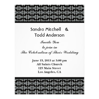 Modern Pattern Black and White Wedding 21.5 Cm X 28 Cm Flyer