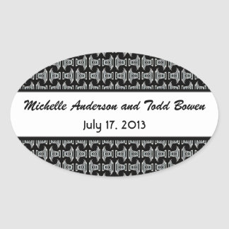 Modern Pattern Black and White Wedding Oval Sticker