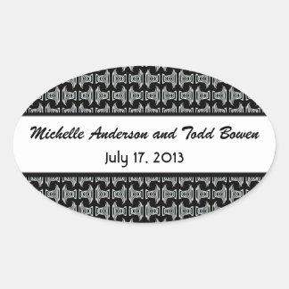 Modern Pattern Black and White Wedding Oval Sticker