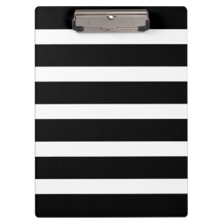 Modern Pattern Black and White Wide Stripes Clipboard