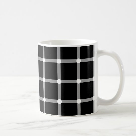 Modern pattern black + white dot optical illusion coffee mug
