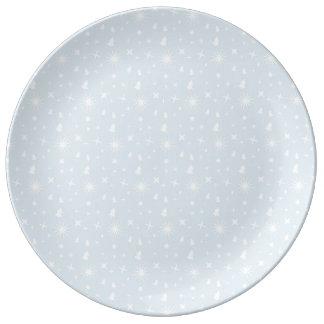 Modern Pattern Christmas Baby Blue Stars White Porcelain Plates