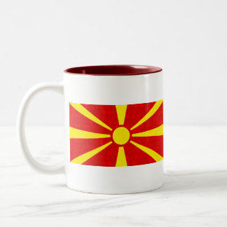 Modern Pattern Macedonian Flag Two-Tone Coffee Mug
